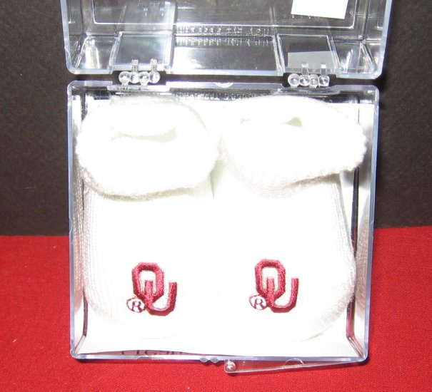 OU Oklahoma Sooners newborn baby booties white