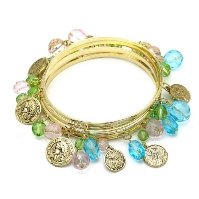 MULTI COLOR BEADED COINS GOLD BANGLE BRACELET SET