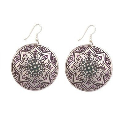 INDIA STAR PURPLE RUSTIC METAL DISC EARRINGS