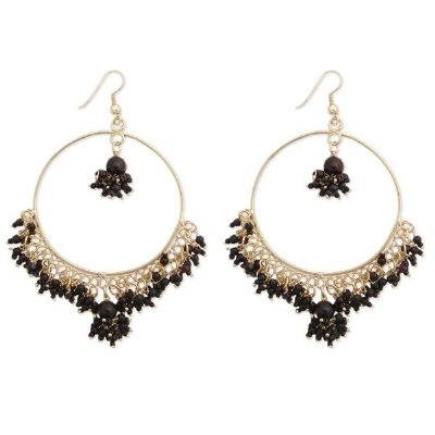 LARGE BLACK SEED BEAD CLUSTER GOLD HOOP EARRINGS