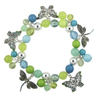 PRETTY BUTTERFLY DRAGONFLY CRYSTAL & BEADED BRACELET