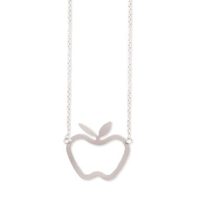 JUICY POLISHED SILVER LARGE APPLE PENDANT NECKLACE