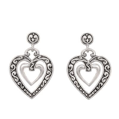 DESIGNER STYLE SCROLLED SILVER DOUBLE HEART EARRINGS
