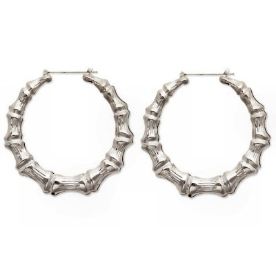 SUPER LARGE BAMBOO DOOR KNOCKER SILVER HOOP EARRINGS