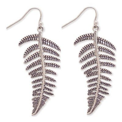 DESIGNER STYLE FERN TREE LEAF SILVER DANGLE EARRINGS