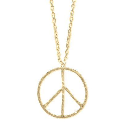 HAMMERED RETRO MATTE GOLD LARGE PEACE SIGN NECKLACE
