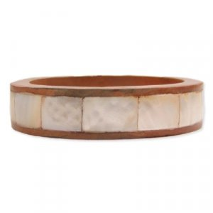 NEW INLAID MOTHER OF PEARL COCOA WOOD BANGLE BRACELET
