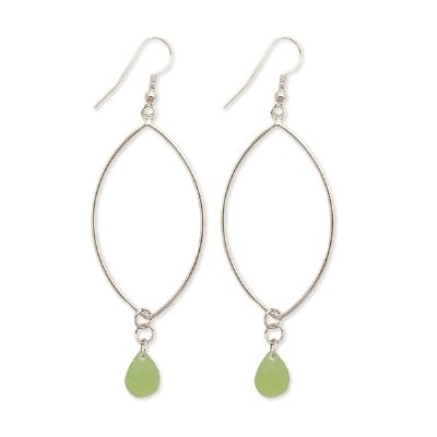 LARGE DESIGNER STYLE GREEN BEADED HOOP DANGLE EARRINGS