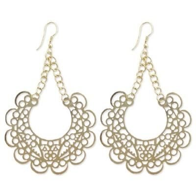 LONG SCROLLED FILIGREE POLISHED GOLD DANGLE EARRINGS