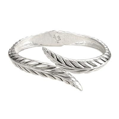DESIGNER SILVER TONE LEAF HINGED BANGLE BRACELET