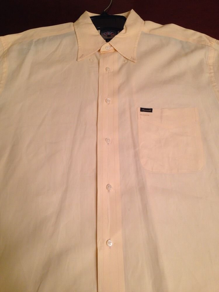 Faconnable Mens Short Sleeve Summer Yellow Button Down