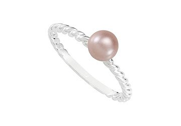 Sterling Silver Stackable Pink Glass Pearl Ring - 6 MM FRS50899AGP6-123