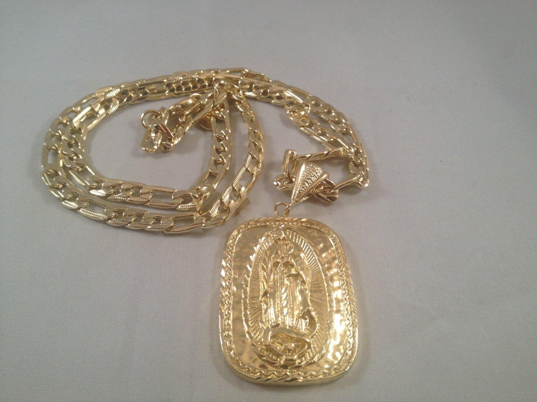 0cb97d54d0159 Virgen de Guadalupe Cadena Medalla Oro K 26