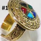 Hand Made Egyptian Bedouin Siwa costume Jewlery Ring with German Gem Ethnic