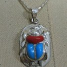 "Hall marked Egyptian Pharaonic Silver Pendant  ""Scarab, Lotus  And Ankh """