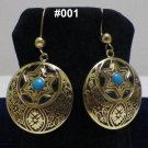 Handmade Egyptian Bedouin Siwa costume Jewelry Earrings,German Gem,Brass Ethnic