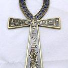 "Egyptian ankh brass 6.8"" engraved hieroglyphic pendant , ankh égyptien"