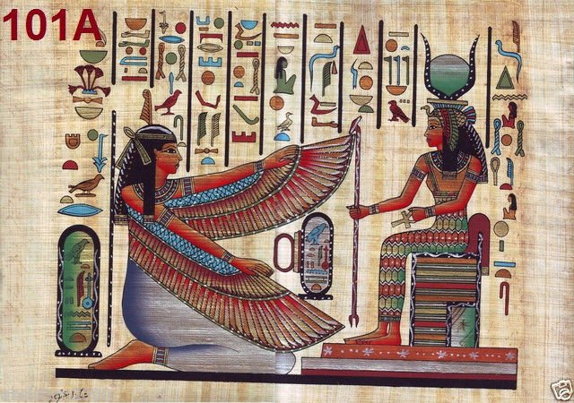 """101 Egyptian Papyrus  HandMade Painting,size 70x100cm (28""""x40"""") Maat & Isis"""