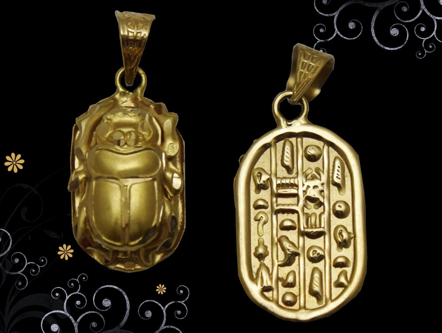 Egyptian Hall Marked 18 Karat Gold pendant, Egypt Pharao's Scarab