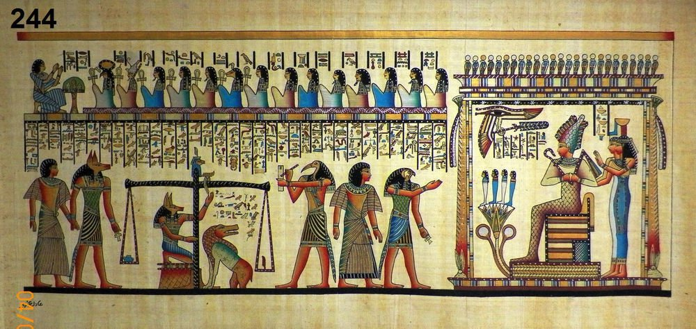 """#244 Egyptian Papyrus HandMade Painting,size 100x200cm (40""""x80"""") Judgement Day"""