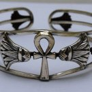 Hall marked Egyptian Pharaoh Silver Cuff Bracelet, 800, Ankh with Lotus
