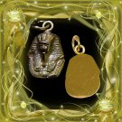 Egyptian Hall Marked 18 Karat Gold pendant, Egypt Pharao's Kings , King Tut Bust