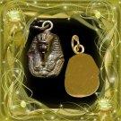 Egyptian Hall Marked 18 Karat Gold pendant, Egypt Pharao's Kings , King Tut Bust