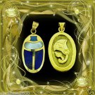 Egyptian Hall Marked 18 Karat Gold pendant, Egypt Pharao's Scarab With Real Gems