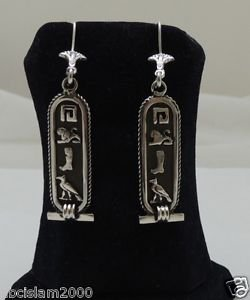 PUT YOUR NAME in  hieroglyphic Silver Earrings CARTOUCH Many colors and designs