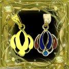 Egyptian Hall Marked 18 Karat Gold pendant, Egypt Pharao's Lotus with Real Gems