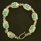 Hall marked Egyptian Pharaoh Silver Bracelet, 800, with German Turquoise Scarab