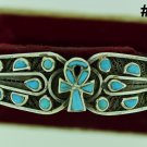 Hall marked Egypt Ägypten Pharaoh Silver Bracelet,Ankh and Turquoise