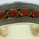 Hall marked Egyptian Silver Bracelet, 925 Sterling Silver with Brown Agate
