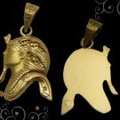 Egyptian Hall Marked 18 Karat Gold pendant, Side Mask of King Tut
