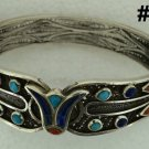 Hall marked Egypt Ägypten Pharaoh Silver Bracelet,Lotus and Turquoise,Lapis