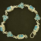 Hall marked Egyptian Pharaoh Silver Bracelet, 800 ,Scarab , Lotus with Turquoise
