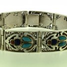 Hall marked Egypt Ägypten Pharaoh Silver Bracelet,Scarab and Lapis ,Turquoise