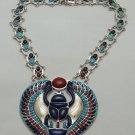 Hall marked Egyptian Pharaoh Silver Necklace,Winged Scarab,Real Natural Gemstone
