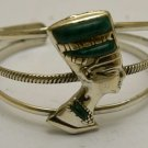 Hall marked Egyptian Pharaoh Silver Cuff Bracelet, 800, Nefertiti with Malachite
