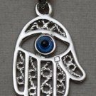 Hall marked Egyptian Islamic Silver Platinum Plated Pendant,925, Fatima Hand