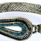 Hall marked Egypt Египет Ägypten Pharaoh Silver Bracelet , Ankh and Turquoise