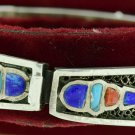 Hall marked Egypt Ägypten Pharaoh Silver Bracelet,Ankh and Scarab with Real Gems