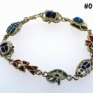 Hall marked Egyptian Pharaoh Silver Bracelet,Scarab,Ankh ,Eye of Horus with Gems