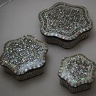 Egyptian. Islamic Mother of Pearl Mosaic Inlaid Wood Jewelry Box ,Set of 3 Boxes