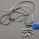 Hall marked Egyptian Pharaoh Silver Platinum Plated Pendant,925,Eye'Horus &Chain