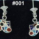 Hall marked Egyptian, Pharaonic, Authentic Silver Earrings with Gems 800,variety