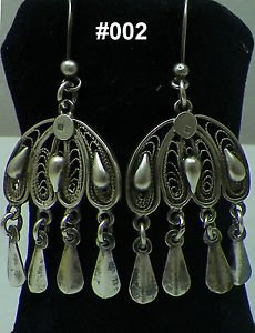 Hall marked Egypt �гипе� �gypten,Authentic,Bedouin Siwa Silver Earrings,variety