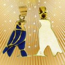 Fascinating HallMark 18 Karat Gold pendant, Pharao God Horus With Lapis Gemstone