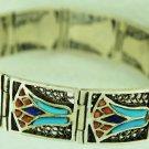 Hallmark Egypt Pharaoh Silver Bracelet Lotus flower, Coral,w. Turquoise gemstone