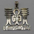 Hallmark Egyptian Pharaoh charm Silver Pendant,Ankh ,Temple and Hieroglyph